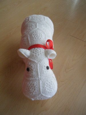 Crochet hippopotamus made out of African Flowers Again, I wish there was a free pattern!