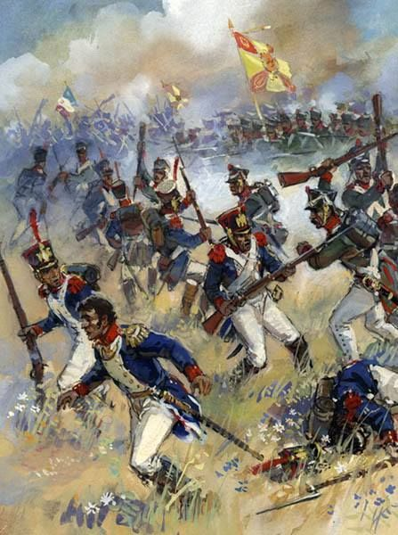 The campaign of 1812:  French troops vs. Russians.  Napoleonic Military Paintings/Sketches/Uniform Plates