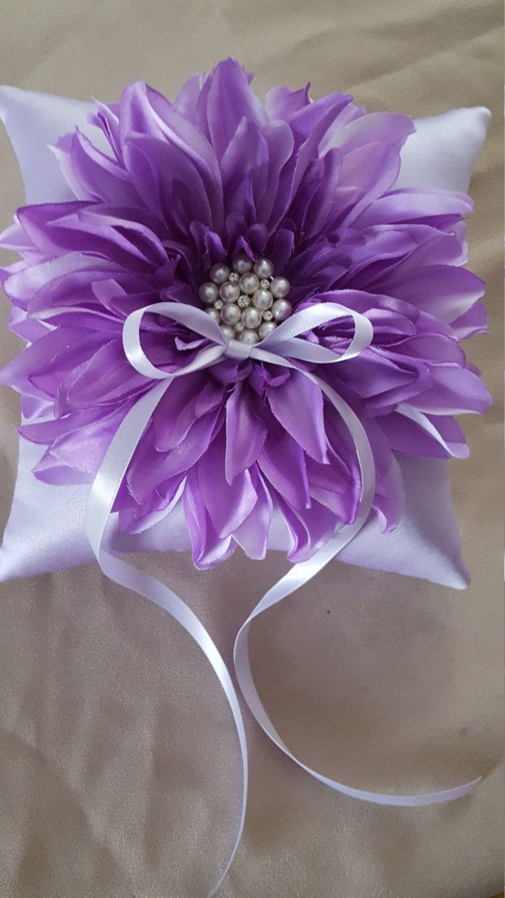 Lavender Lilac Dahlia Ring Bearer Pillow Pearl by Allofyou on Etsy