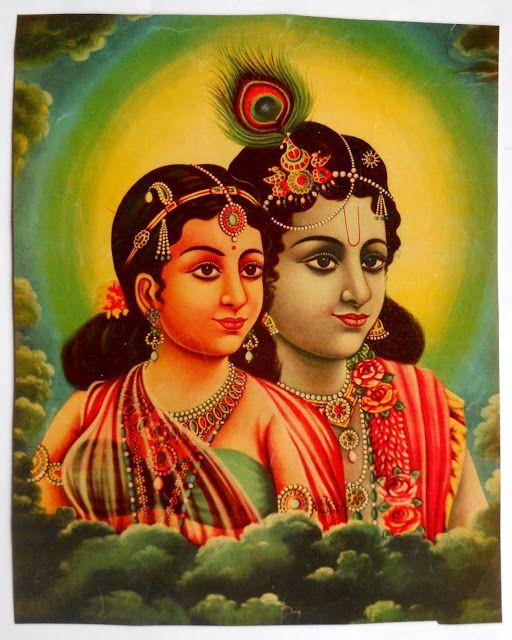 Portrait of Radha and Krishna - Vintage Calender Print - Old Indian Arts