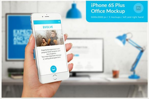 Holding iPhone 6S Plus Office Mockup  http://textycafe.com/10-iphone-hand-mockup-with-holding-iphone-in-hands/
