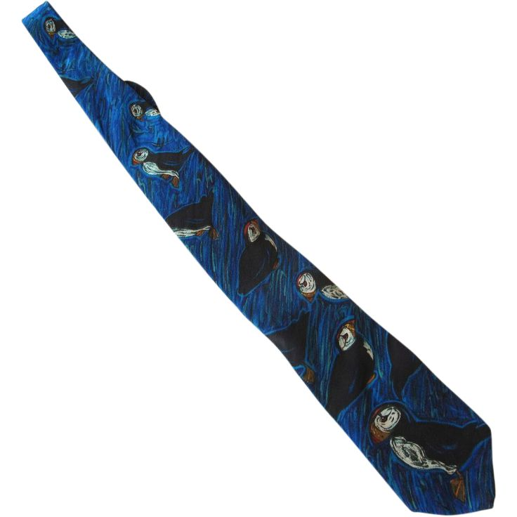World Wildlife Federation Puffin Silk Necktie  Offered by Ruby Lane Shop 2Hearts Uptown Jewelry