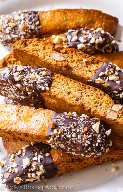 Chocolate-Dipped Almond Biscotti.
