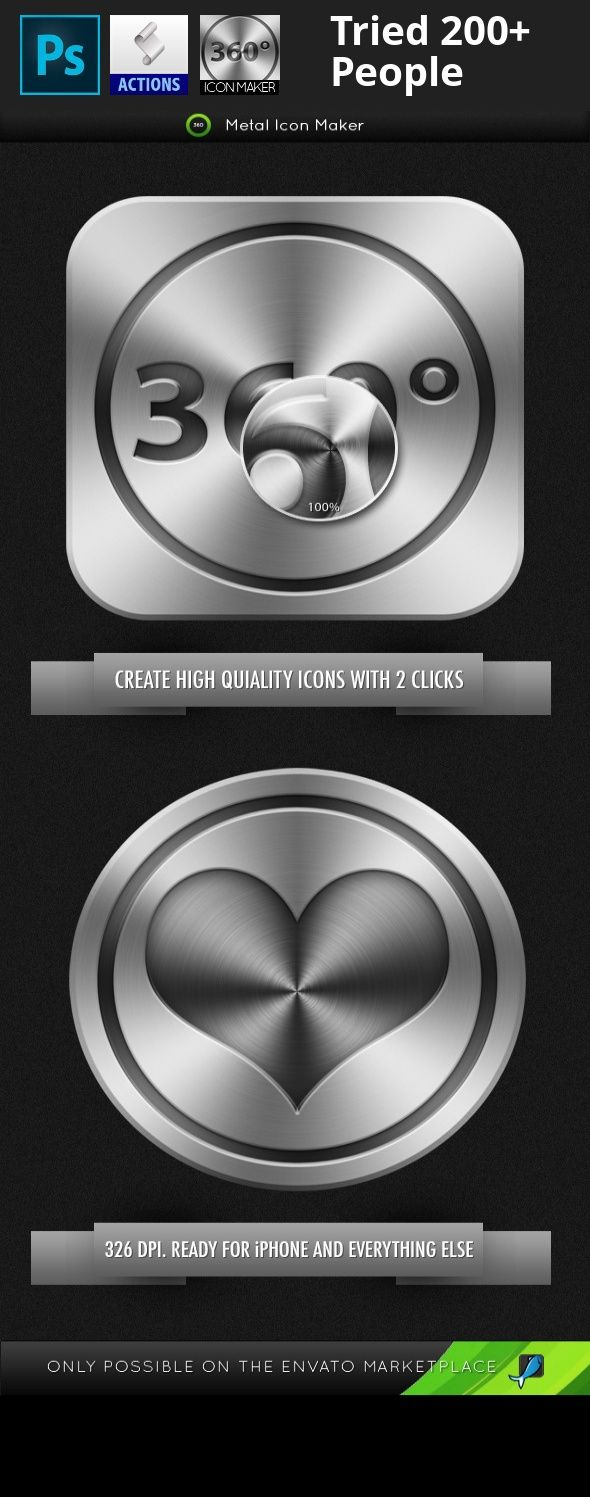 app, app icon, black, elegant, gray, icloud, icon maker, icons, icons maker, ipad, iphone, mac, make, maker, metal, metal icon, tablet  Information  Create perfect looking metal icons with just 2 Clicks.  iPhone ready (326  DPI .) Works with any colour.   What's Included  ASL . file included Pre-Done Icon for ease of use Help Document