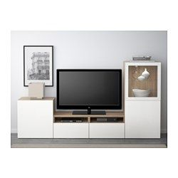 IKEA - BESTÅ, TV storage combination/glass doors, white/Selsviken high gloss/beige frosted glass, drawer runner, push-open, , The drawers and doors have integrated push-openers, so you don't need handles or knobs and can open them with just a light push.Behind the doors there's plenty of extra storage space to help keep your living room organized.It's easy to keep the cords from your TV and other devices out of sight but close at hand, as there are several cord outlets at the ...