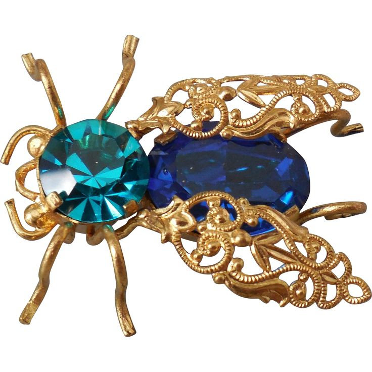Austrian Crystal Bug Pin Brooch. Vintage Jewelry under $25 at Ruby Lane @Ruby Lane