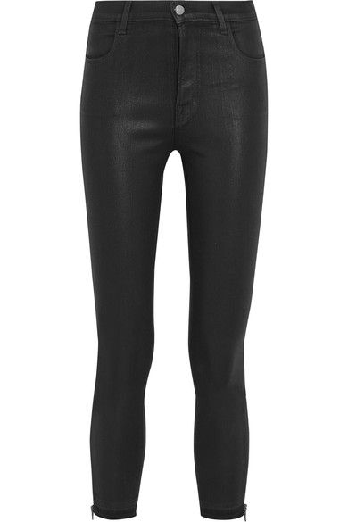 J Brand - Alana Coated High-rise Skinny Jeans - Black - 24