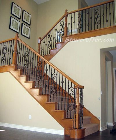 Best Decorative Iron And Wood Staircase With Large Scroll 640 x 480