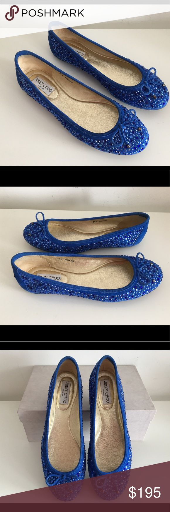 JIMMY CHOO WEBER CRYSTAL-EMBELLISHED BLUE SUEDE JIMMY CHOO WEBER CRYSTAL-EMBELLISHED BLUE SUEDE BALLET FLATS, SIZE 39.5, PADDED LEATHER INSOLE, OLD GOLD-TONE LOGO ENGRAVED PLATE AT HEEL, THEIR BLUE SUEDE EXTERIOR IS COUPLED WITH BOWS ON THE FRONT, MADE IN ITALY, BRAND NEW WITH BOX AND DUST BAG. Jimmy Choo Shoes Flats & Loafers