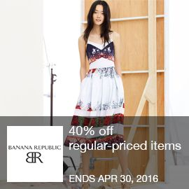 Starting 4/27: 40% off regular-priced items. Use code at Banana Republic. Restrictions apply. Ends 4/30. Offer valid online only at Banana Republic through 4/30/16 in the US and Puerto Rico. Click here for complete details.  Brought to you by http://www.imin.com and http://www.imin.com/store-coupons/banana-republic/