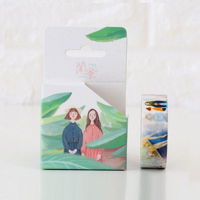 1 шт. 15 мм * 8 м Kawaii DIY подруги бумаги васи лента/клейкая лента/декоративные клейкая лента/школьные Принадлежности