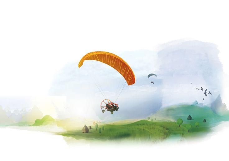 Illustrations for a flight adventure website on Behance  #flight #outdoor #adventure #paragliding