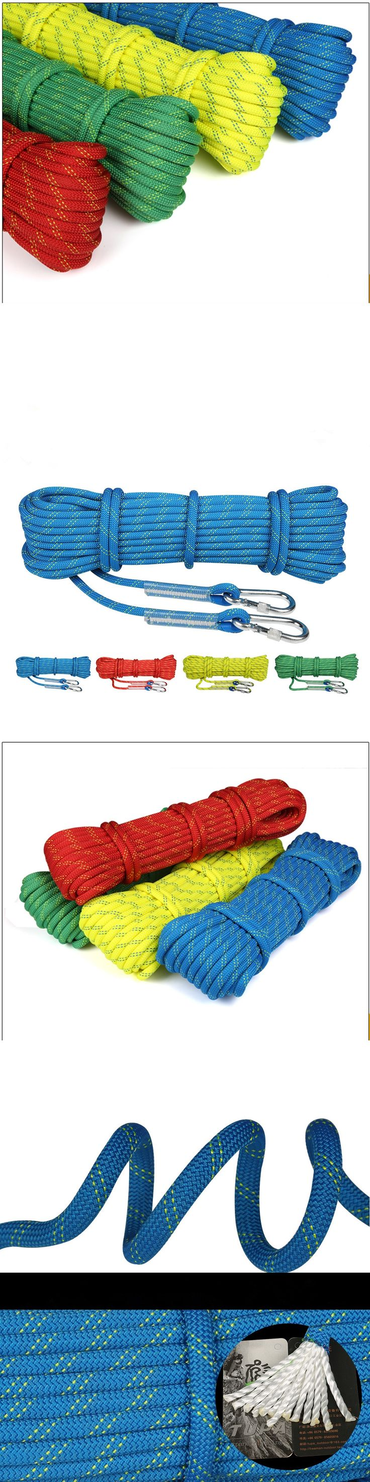 8mm Auxiliary Safety Rope 16KN Rock Climbing Mountaineering Parachute Cord with Carabiners Outdoor Rescue Hiking Equipment