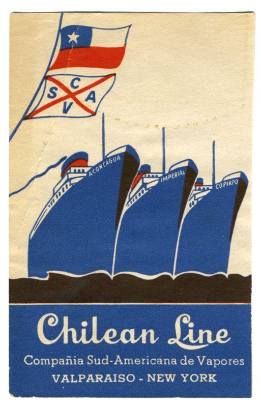 Artist Unknown poster: Chilean Line (Luggage Label)