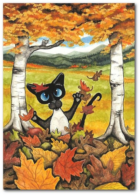 Title: Blanket of Leaves by AmyLyn Bihrle | #autumn #seasons #cats #siamesecats #art | All images © AmyLyn Bihrle www.amylyn-bihrle.com All rights reserved.
