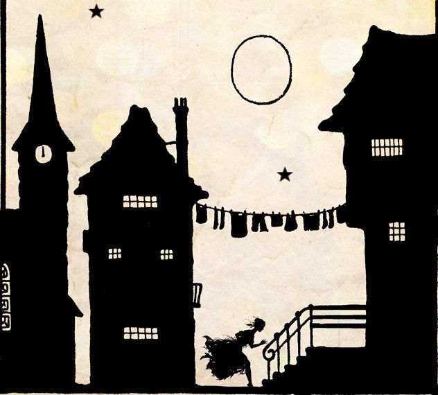 "Vintage Fairy Tale Illustration ""These Old Walls"" Houses Village Silhouette - Black and White Paper Cut Art - European Town Scene"