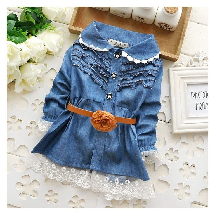 2015 Infant Autumn Blue Demin Dressess Bebe, Factory Price, Worldwide Free Shipping!