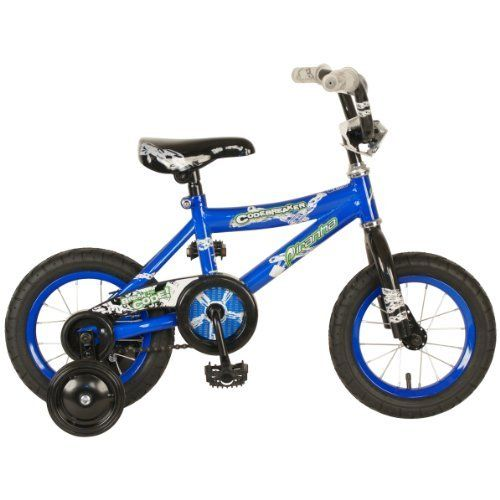 "Piranha Boy's Codebreaker Bike (Blue/Black, 12-Inch) by Piranha. $79.99. Steel Training Wheels. 32mm Oversized Saddle. Steel Frame. Piranha Codebreaker 12"" Boys' Bike is the perfect starter Bike for youngsters age 2 - 4! With its easy pedal'n tires and training wheels, your lil' pedal-pusher will be tearing up the road in no time! Measures 30 x 7 x 16"" h.; 55 lb. weight capacity; ""Easy pedal'n"" 12"" street tires roll over a wide array of surfaces; Steel-reinforced training wheel b..."