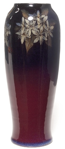 Rookwood vase, Black Opal glaze with stylized floral design, executed by Harriet Wilcox in 1927