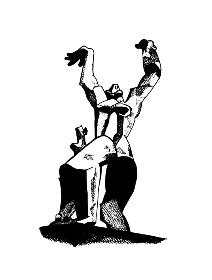 Zadkine statue, 14 May 1940, 75 year since the bombing of Rotterdam in WWII, fine-liner drawing digitized.