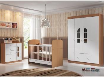 Guarda-roupa para Bebê 4 Portas + Berço/Mini Cama - Ajustável + Cômoda - Multimóveis Bolinha de Sabão