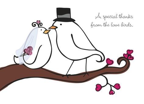 Wedding Birds Thanks - Persnickety Pear - Wedding Thank You Card