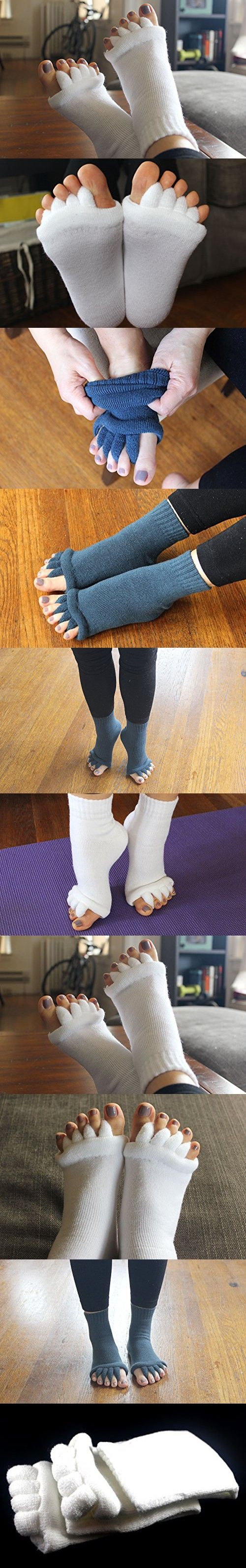 Toe Separator Yoga Gym Sports Massage Socks for Foot Alignment, Great for Sore Feet and Diabetics by TRiiM Fitness with FREE Exercise guide for your feet!