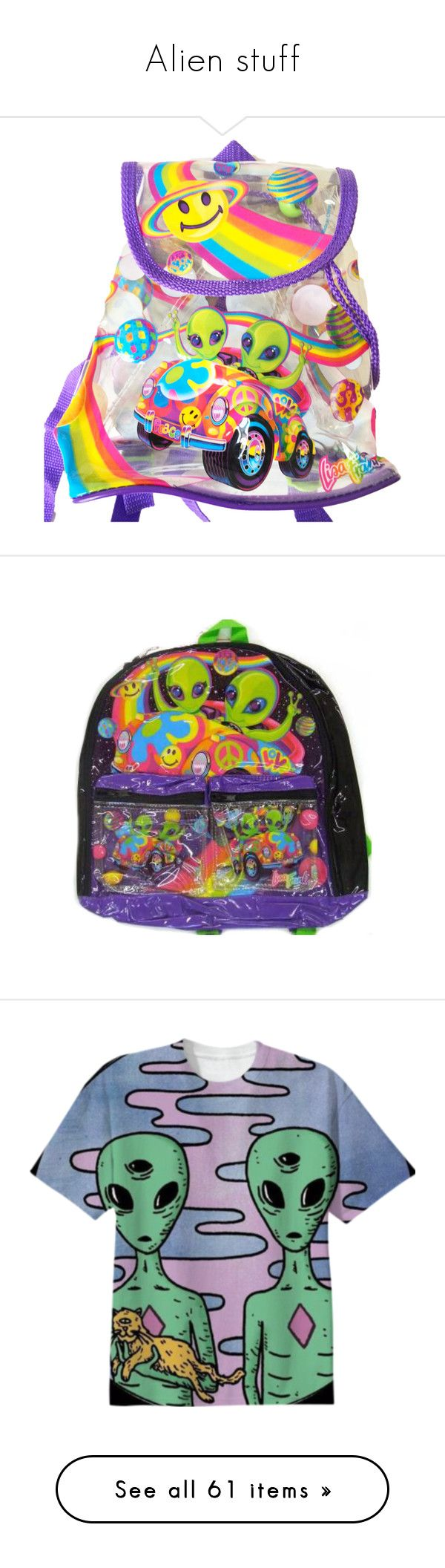 """""""Alien stuff"""" by shulabond on Polyvore featuring bags, backpacks, mini rucksack, day pack backpack, lisa frank, drawstring backpack, mini bags, accessories, aliens and knapsack bag"""