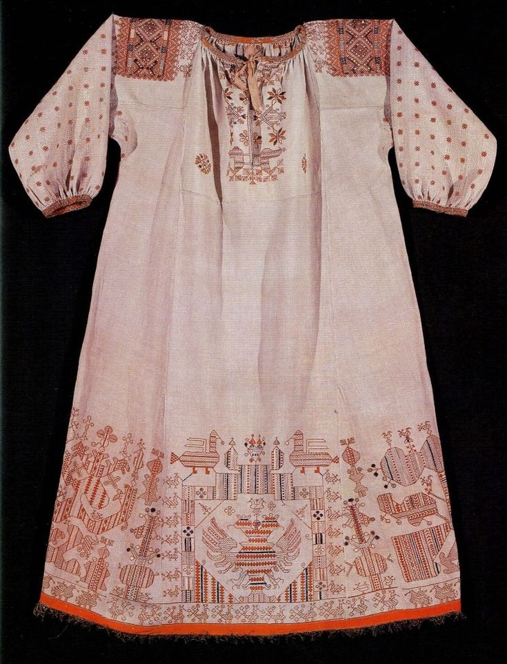 embroidery of russian feminine festive shirt