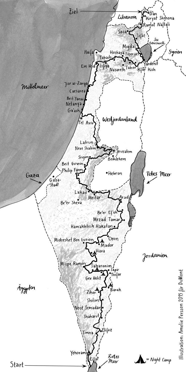 Der Israel National Trail ist gut 1000 Kilometer lang. Er führt von Eilat zum Kibbuz Dan im Norden Israels. Auf ihm liegen Jerusalem, Tel Aviv und Haifa.