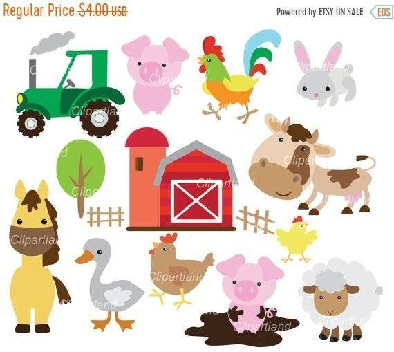 On Sale Instant Download Farm Animals Clip Art Cf 7 Etsy Clip Art Farm Animals Etsy Banner