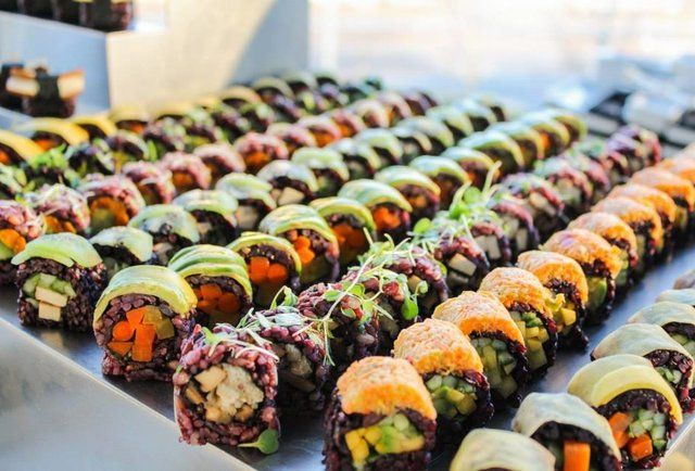 Beyond Sushi (NYC). Run by a dynamic husband & wife duo, Beyond reinvents traditional sushi using fresh, local, all-vegan ingredients. Colorful and beautifully crafted, your chopsticks should dig into a Spicy Mang roll with black rice, avocado, mango, cucumber, spicy veggies, and toasted cayenne sauce or the Mighty Mushroom roll made up of six-grain rice, enoki, tofu, shiitake, arugala, and shiitake teriyaki sauce.