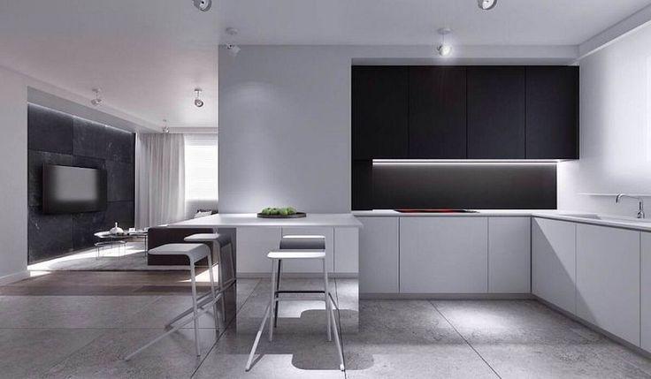 Apartament w Warszawie 1 - kuchnia z jadalnią