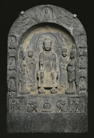 Stele of the Buddha Maitreya, 687. China; Tang dynasty (618–906). Limestone. The Avery Brundage Collection, B60S36+ (Asian Art Museum)