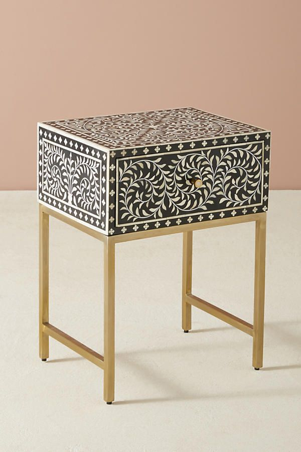 Scroll Vine Inlay Nightstand In 2019 Living Rooms
