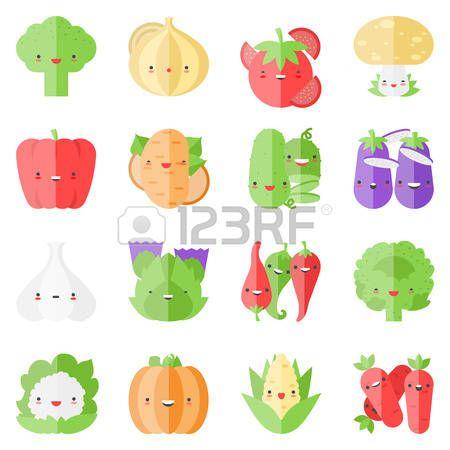 Iconos planos conjunto de sabrosas verduras populares en estilo kawaii lindo moderno  Foto de archivo