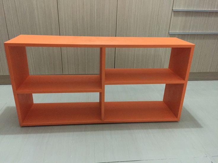 An orange wood tv stand. 1000X500X250