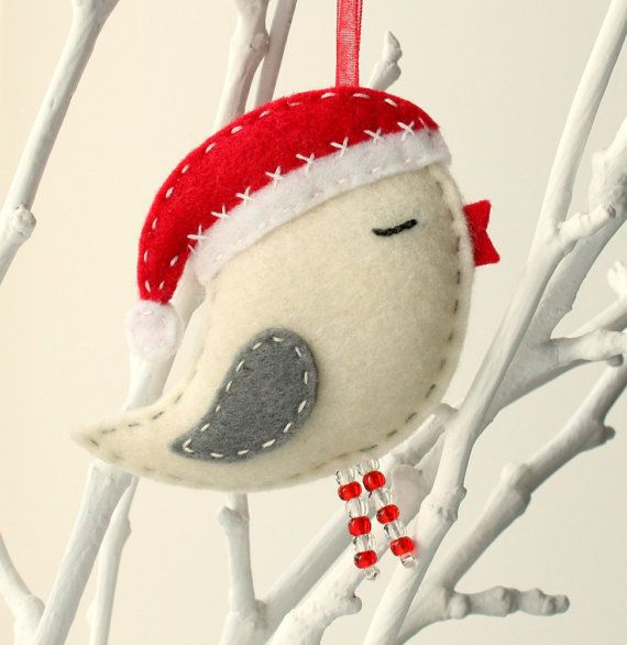 Felt Bird with Santa Hat Christmas tree by HandmadeByHelga