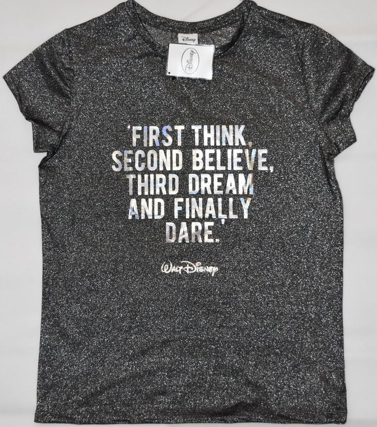 Primark Walt Disney Quote T Shirt '1st Think' Womens Ladies Silver UK Sizes 4-20