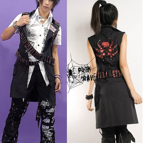 Trendy Black Japanese Emo Punk Gothic Fashion Clothes Vest Jacket I can  use this (Left) fashion for an anime character I created.