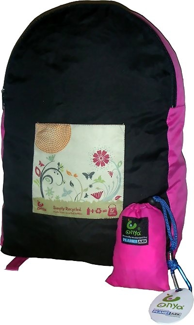 Onya Garden stuff-away backpack. Made with recycled plastic. Stuffs into small pouch, great to take on holiday/travelling. $24.95 http://www.greengiftsaustralia.com.au/shop/index.php?main_page=product_info&cPath=8&products_id=201