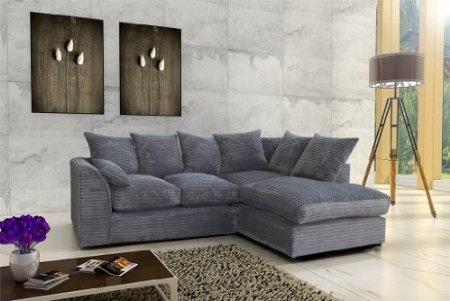 Porto Jumbo Cord Corner Sofa, Settee, Full Chenille Cord Fabric in Grey (Grey Right): £329