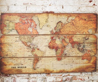 Pallet wood, a map & some mod podge.