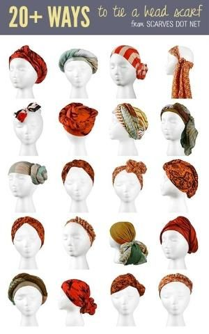 Looking to spruce up your headwear? Check out these 20 different ways to tie a head scarf! by Octavia Ivy