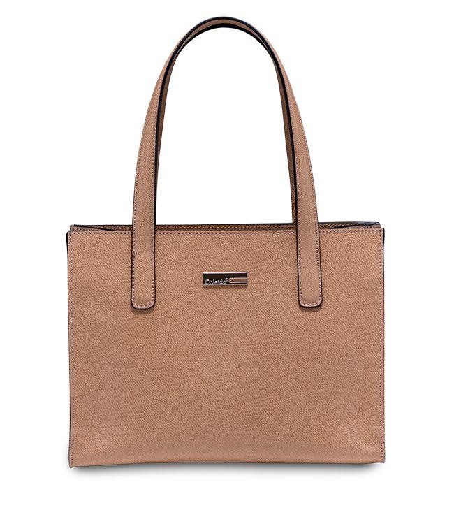 #Handbag color sabbia dalle linee rigorose. In pelle stampa palmellato. Modello Fucsia by #Caleidos