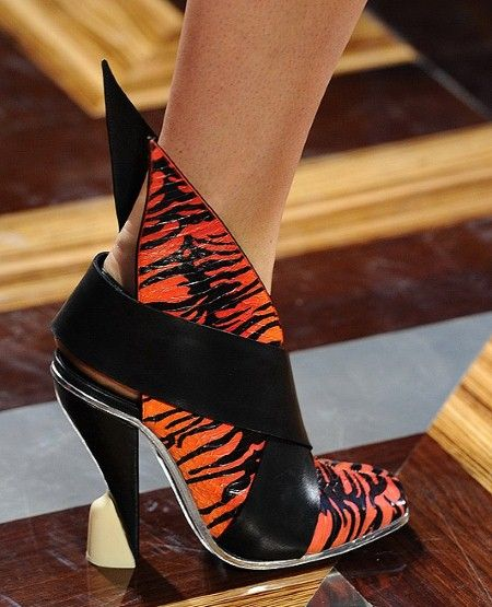 Balenciaga known for creating far out and immensely covetable shoes. This season is no exception - tiger print, winged back and a crazy heel - wait list worthy.