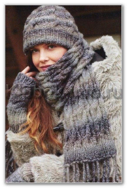 Вязание спицами. Шапочка, шарф и митенки с узором косы из пряжи секционного крашения. Размеры: шарф 22 х 170 см, шапка: ОГ 47-53 см