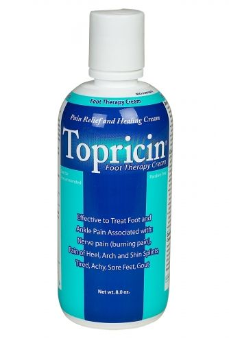 Topricin® Foot Therapy Cream- For relief of inflammation & pain, and healing treatment for soft tissue & trauma injuries.  Topricin® Foot Therapy Cream reduces swelling, stiffness, numbness, tingling & burning pain associated with these soft tissue ailments: Edema swelling and joint pain in the toes, feet and ankles Heel pain/soreness (heel spurs) Bunion pain/soreness (big toe) Nerve pain (burning pain in the feet) Gout (pain in big toe) Arch pain, soft tissue pain, and ball of the foot.