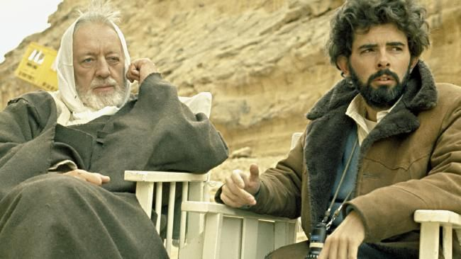 Alec Guinness. pictured here with director George Lucas was nominated for a Best Supporting Actor Oscar for Star Wars.