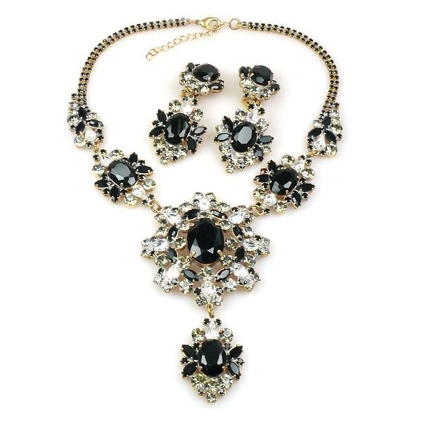 "Aztec Sun Set ~ Clear Crystal and Black. Great rhinestone necklace set, length 16.00"" and extension 3.00"", earrings with clips 3.25"". Price: $69.90"